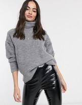 Asos Design DESIGN fluffy sweater with cowl neck