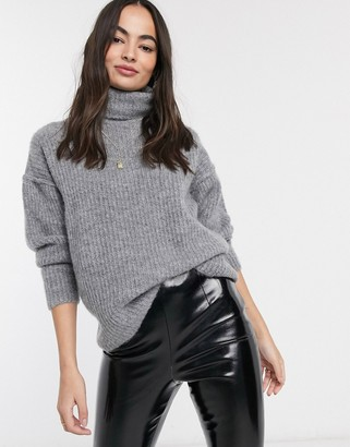 Asos DESIGN fluffy sweater with cowl neck