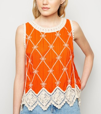 New Look Light Lattice Back Crochet Top
