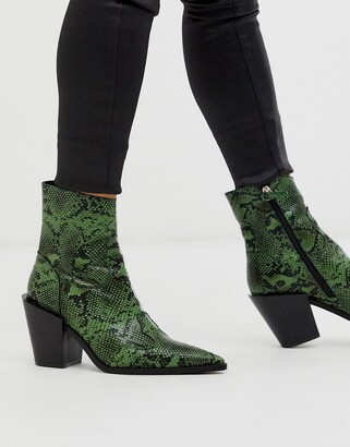 Truffle Collection pointed western boot in green snake