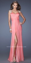 La Femme Ruched Sparkling Prom Dress