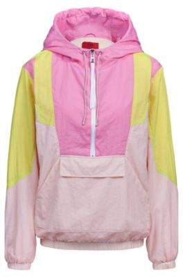 HUGO Oversized-fit hooded jacket with colourblocking and half zip