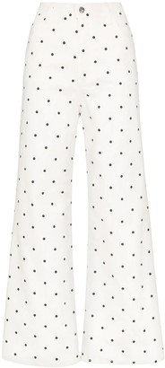 Eve Denim Polka Dot Print Flare Denim Jeans