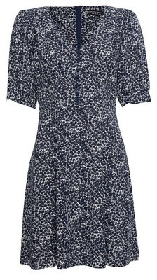 Dorothy Perkins Womens Blue Ditsy Print Button Mini Skater Dress, Blue