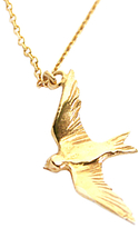 Alex Monroe Flying Swallow Pendant Necklace, Gold