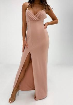 Missguided Rose Slinky Wrap Split Front Maxi Dress