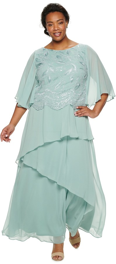 Plus Size Scallop Embroidered Tier Dress