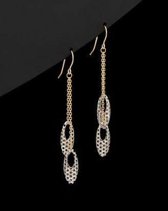 Italian Gold 14K Two-Tone Puffed Oval Drop Earrings