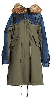 Sacai Women's Mixed Denim Faux-Fur Trimmed Parka