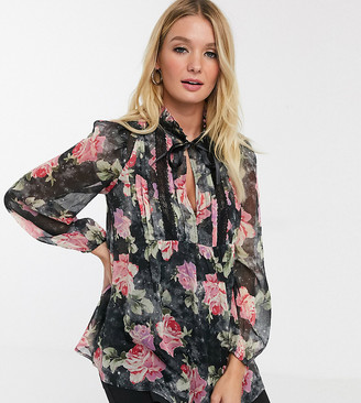ASOS DESIGN Maternity floral blouse with ruffle and lace detail