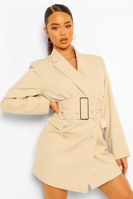 boohoo Tailored Oversized Wide Belt Blazer Dress
