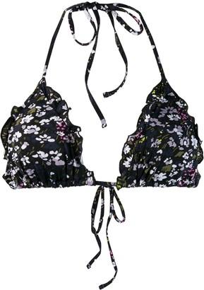 Ganni floral triangle bikini top