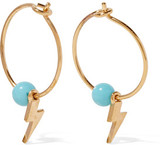 EYE M by Ileana Makri Mini Thunder Gold-Plated Turquoise Hoop Earrings