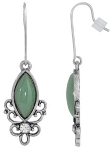 2028 Sterling Silver Wire Genuine Stone Indian Aventurine Earrings
