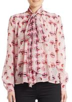 Giamba Tie-Neck Printed Silk Blouse