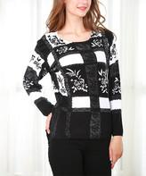 Couture Simply Women's Tunics BLACK-WHITE - Black & White Floral Window Pane Cashmere-Blend Tunic - Plus