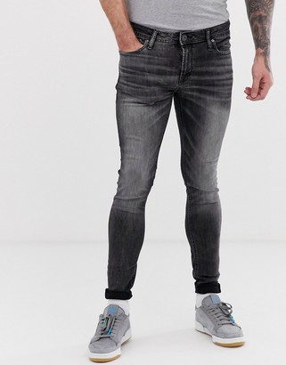 Jack and Jones Intelligence spray on skinny jeans in washed black
