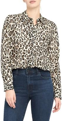 Theory Leopard Print Silk Button-Up Shirt