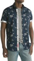 Report Collection Reverse Floral Print Sport Shirt - Short Sleeve (For Men)