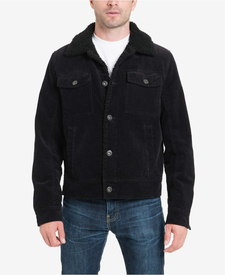Lucky Brand Men Kayne Corduroy Sherpa Trucker Jacket with Fleece Lining