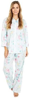 Lauren Ralph Lauren Woven Lawn 3/4 Sleeve Pointed Collar Long Pants Pajama Set (Mint Floral) Women's Pajama Sets
