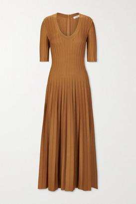 CASASOLA + Net Sustain Eva Ribbed Stretch-knit Midi Dress - Copper