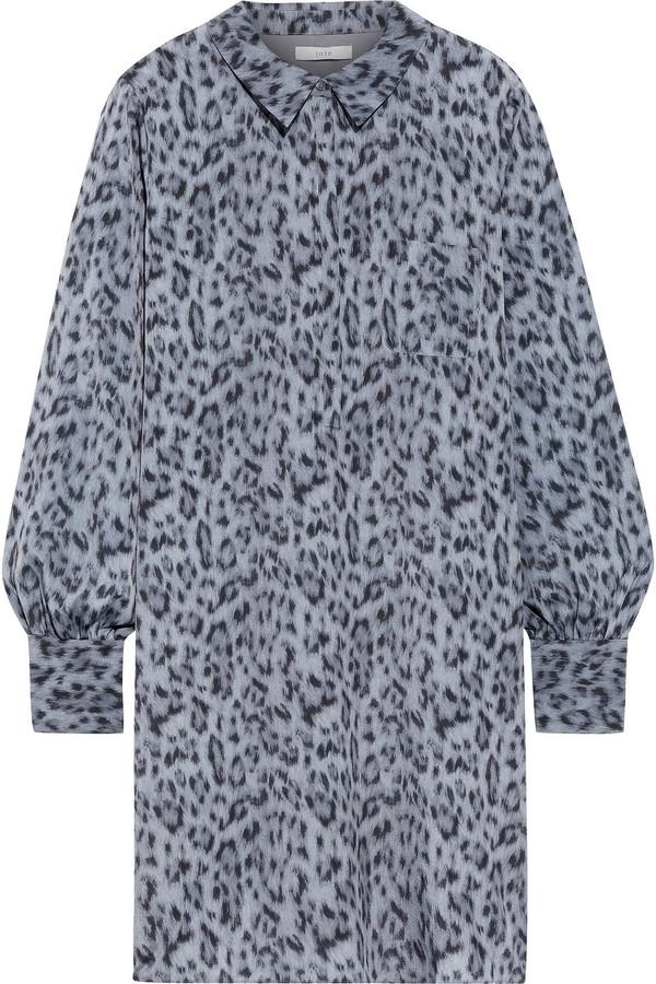 Joie Leopard-print Crepe De Chine Mini Shirt Dress