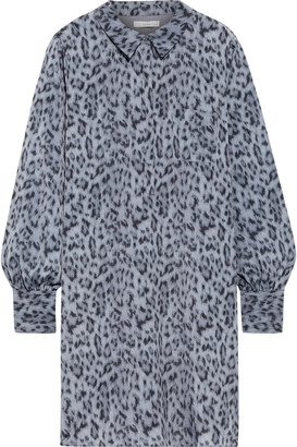 Joie Leopard-print Crepe De Chine Mini Shirt Dress