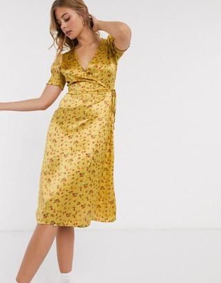 Influence wrap front satin midi dress in mustard floral print