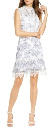Adelyn Rae Hattie Outlined Lace Dress