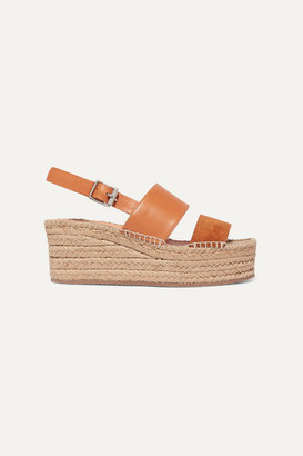 Rag & Bone Edie Leather And Suede Espadrille Wedge Sandals - Tan