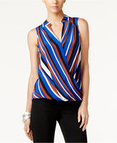 INC International Concepts Striped Faux-Wrap Top, Only at Macy's