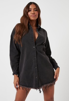 Missguided Petite Black Oversized Denim Shirt Dress