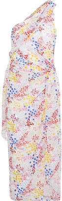 Carolina Herrera One-shoulder Printed Chiffon Midi Dress