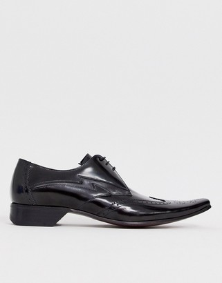 Jeffery West pino contrast lightning shoe in black high shine leather