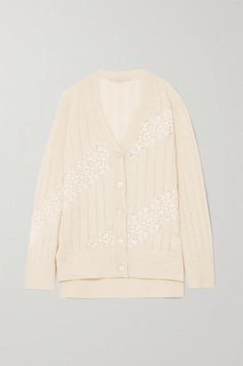 Stella McCartney + Net Sustain Lace-paneled Cashmere And Wool-blend Cardigan - Cream