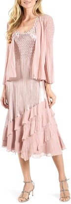 Komarov Charmeuse & Chiffon Tiered Midi Dress with Jacket