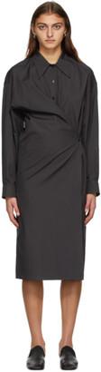 Lemaire Grey Poplin Twisted Dress