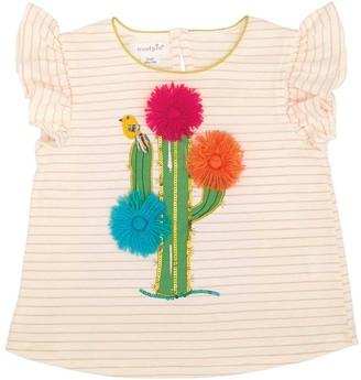 Mud Pie Girls' Tee Shirts PINK - Pink Stripe Cactus Dazzle Angel-Sleeve Tee - Toddler