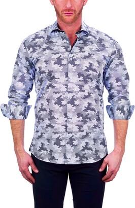 Maceoo Einstein Hexagon Splash Blue Button-Up Shirt