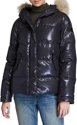 Peuterey Mils Ma Fur-Trim Hooded Puffer Coat