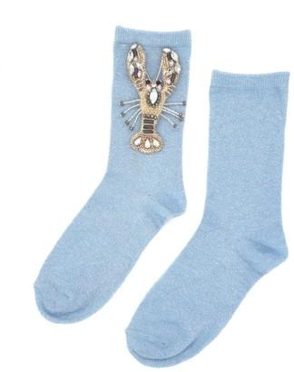 Laines London Powder Blue Glitter Socks With Crystal Lobster Brooch