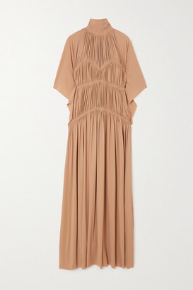 Victoria Beckham - Pleated Ruched Stretch-jersey Maxi Dress - Camel