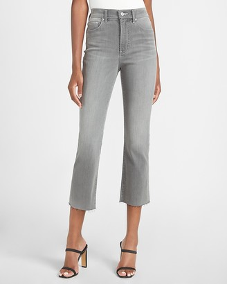 Express High Waisted Gray Faded Cropped Flare Jeans