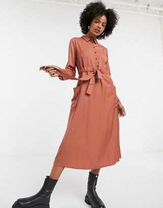 Vila waist tie midi shirt dress in brown