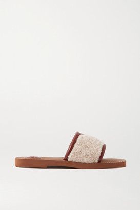 Chloé Woody Leather-trimmed Shearling Slides - Beige
