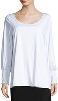 The Row Kenu Smocked-Cuff Top, White