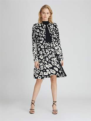 Oscar de la Renta Leopard Wool-Blend Coat