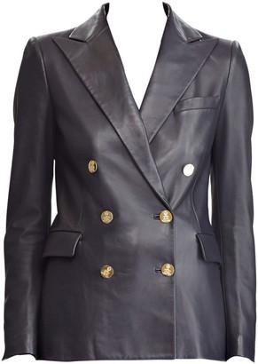 Ralph Lauren Leather Camden Double-Breasted Blazer
