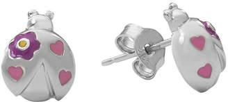 Hallmark Kids Sterling Silver Enamel Lady Bug Stud Earrings